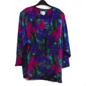 Vintage Silky Blouse Jacket 1X Floral VTG